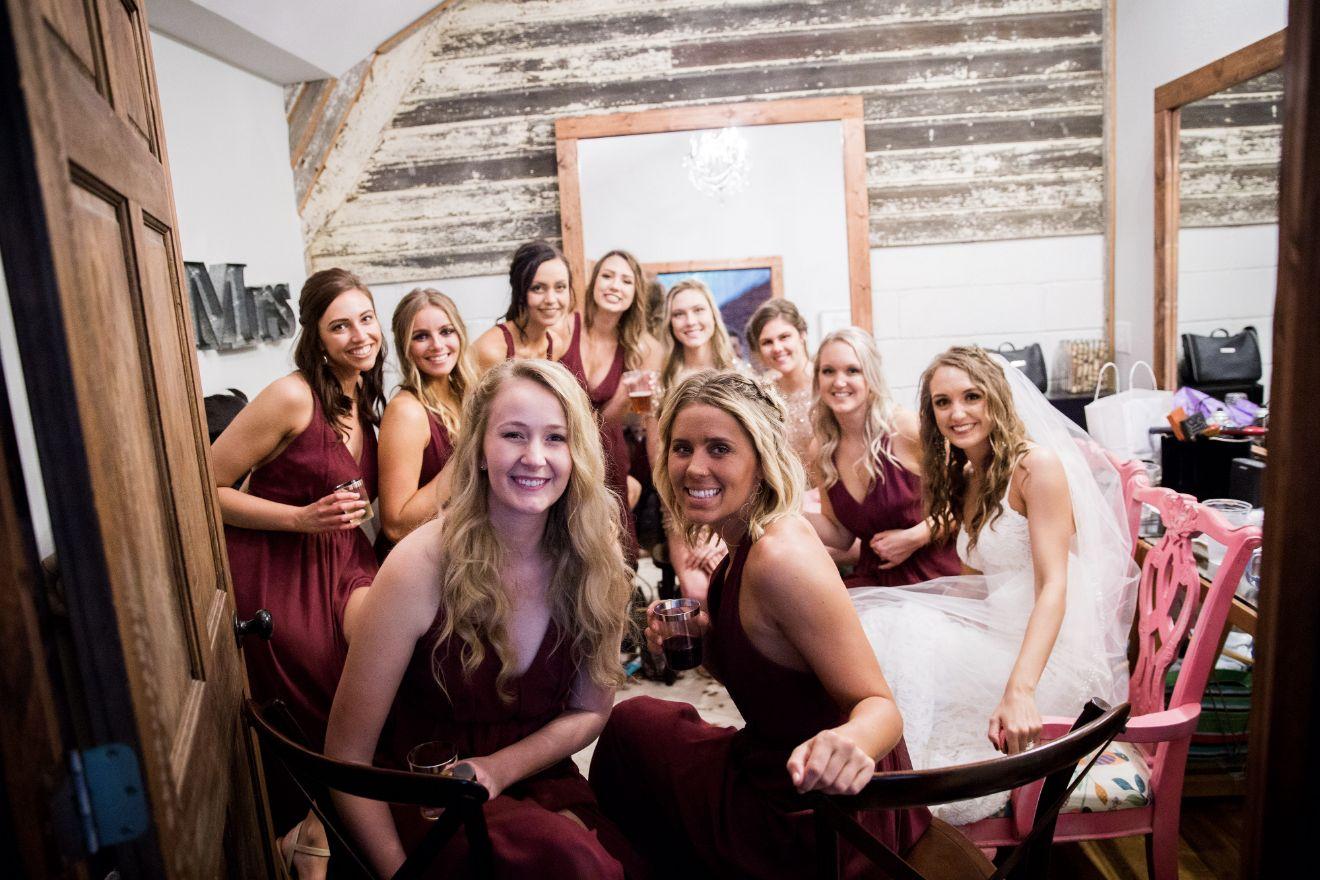 Wedding bridal party at the Canton Barn