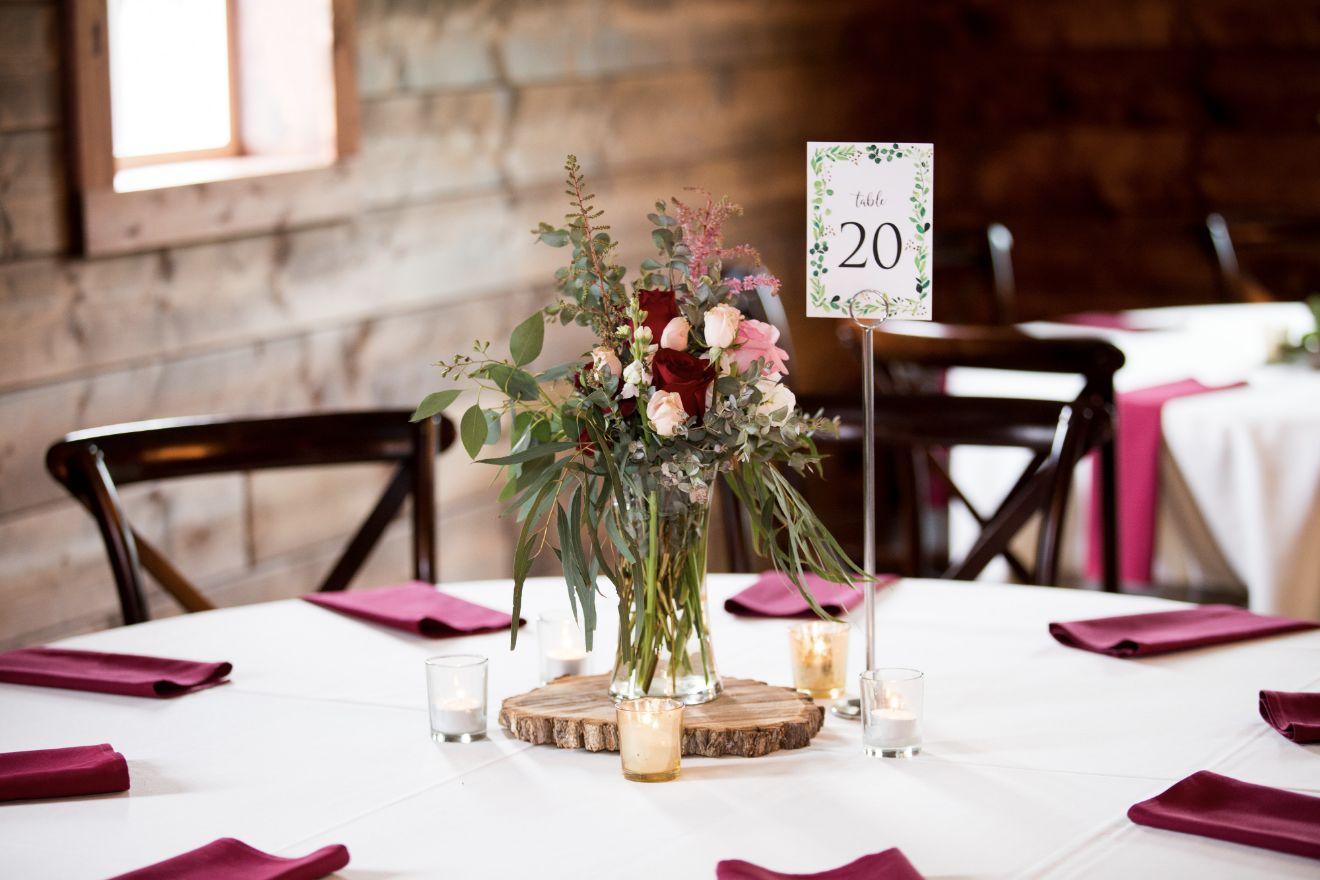 Wedding decorations at the Canton Barn
