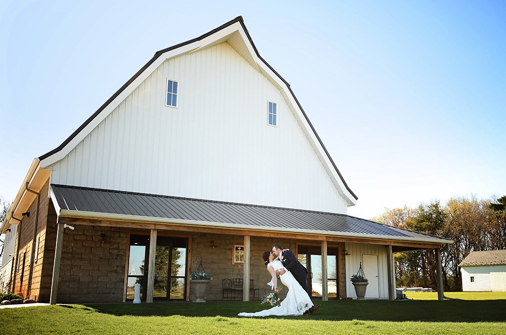 Wedding couple at The Canton Barn