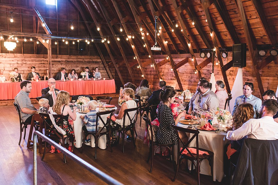 Wedding at the Canton Barn - people eating